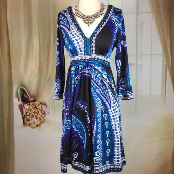 New York & Company Dresses & Skirts - New York & Co Blue Low Cut Dress